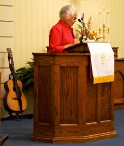 Sarah reading scripture