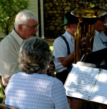 sun, shadows, notes, reflections, musicians - oompa band - 7-22-2016